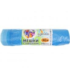 Мешки для мусора 30 л с завязками голубые, ПНД, рулон ИДЕАЛ (20 шт./рул.)