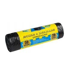 Мешки для мусора 30 л с завязками черные, 11 мкм, ПНД, рулон КРЕПАКОФ (20 шт./рул.)