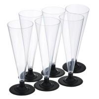 Фужер 170 мл для шампанского PS прозрачный с черной ножкой (6 шт./уп.)