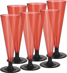 Фужер 170 мл для шампанского цветной (красный) с низкой черной ножкой, набор (6 шт./уп.)