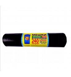 Мешки для мусора 240 л черные, 45 мкм, ПВД, рулон АСС-ПАК (10 шт./рул.)