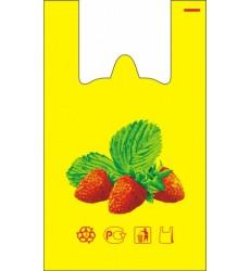 Пакет-майка 30*55 см, 30 мкм КЛУБНИКА (100 шт./уп.)