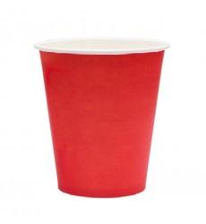 Стакан 250 мл бумажный для горячих напитков красный (50 шт./уп.)
