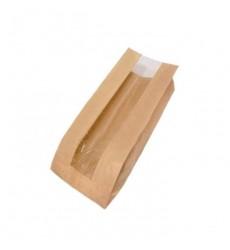 Пакет 250*140*60 мм бумажный без ручек с окном крафт без печати (100 шт./уп.)