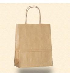 Пакет 22*12*25 см бумажный крафт с кручеными ручками без рисунка