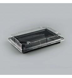 Емкость для суши УК-703 с прозрачной крышкой, черная, набор (5 шт./уп.)