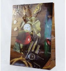 Пакет 18*23*10 см бумажный ламинированный с веревочными ручками МЭН